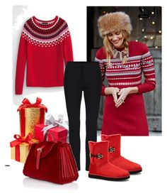 """""""red, red, red"""" by balloon565 ❤ liked on Polyvore featuring Lands' End, Free People, UGG Australia, Meli Melo, women's clothing, women's fashion, women, female, woman and misses"""