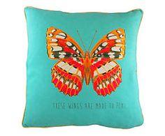 Cuscino arredo in misto cotone Wings acqua - 43x43 cm