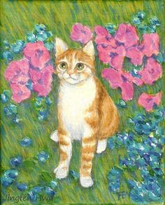 """A4 print of cat art painting  """"a cat at a garden"""" best cat lover gift for special days (65)"""