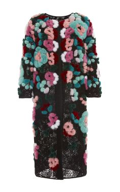 Multicolor Mink Bouquet Technique Guipure Lace Coat by OSCAR DE LA RENTA for Preorder on Moda Operandi