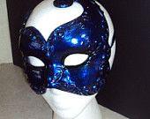 ON SALE 20% Midnight Blue Mens Masquerade Mask Venetian Carnival Mardi Gras Handmade