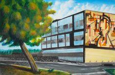 Jonathan García Ayala Vista Semifrontal del Edificio de Medicina Forense de C.U. 24 x 33.5 cm 17 de noviembre de 2016 Acrílico sobre papel
