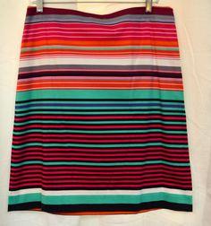 Premise Tropical Stripe Stretch A-Line Skirt Almalfi Coast Multi Color Sz 10 New #Premise #ALine #Tropical #Skirt #Summer #Spring #Beach #STyle #Fashion