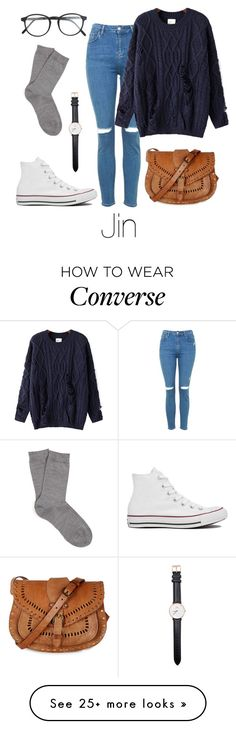 """Jin Inspired w/ Converse"" by btsoutfits on Polyvore featuring Topshop, Chicnova Fashion, RetroSuperFuture, Daniel Wellington, Warehouse, Converse and Falke"