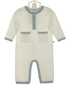 NEW Angel Dear Ivory Soft Cotton Cable Knit Romper with Blue Trim $50.00