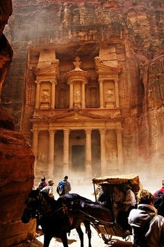 "' The Lost City' in Jordan- Petra, a World Heritage Site as well as one of the ""Seven Wonders of the World"". The name itself means ""rock"" and the whole city is famous for its rock cut architecture, amazing rock pathways, mysterious caves and breathtaking views. Indiana Jones was filmed here. On my bucket list."