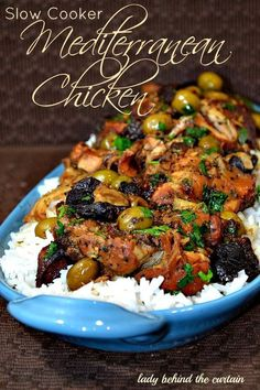 Lady Behind The Curtain - Slow Cooker Mediterranean Chicken (may try mixing all ingredients and freezing with raw chicken until placing in crock pot).