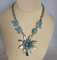 Vintage Necklace Silver tone Flower re purposed Blue by ravished, $30.00