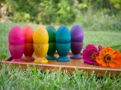 Montessori and Waldorf eco friendly natural rainbow sorting toys, wooden egg and cup toys