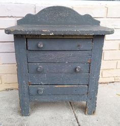 Antique Old Primitive Painted Child's Miniature Dresser Chest Furniture Folk Art | eBay