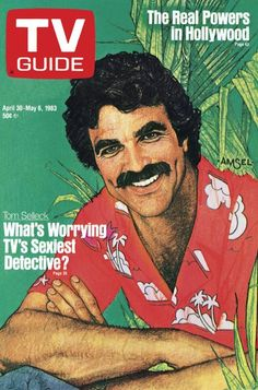 TV Guide April 30, 1983 - Tom Selleck of Magnum PI. Illustration by Richard Amsel