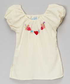 Loving this Natural Heart Embroidered Valentina Top - Infant, Toddler & Girls on #zulily! #zulilyfinds