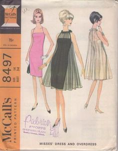MOMSPatterns Vintage Sewing Patterns - McCall's 8497 Vintage 60's Sewing Pattern RISQUE Amazing Criss Cross Straps Fitted Sheath Holiday Cocktail Party Dress, Sheer Tent Overdress Size 14 Mccalls Sewing Patterns, Vogue Patterns, Vintage Sewing Patterns, Clothing Patterns, Dress Patterns, Vintage Dresses, Vintage Outfits, Vintage Clothing, Retro Fashion