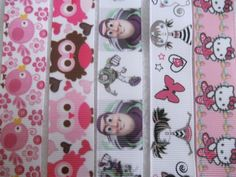 5 Pcs 7/8'x 1m of Girls/owls/hellokitty/ Birds Grosgrain Ribbon for Diy Hairbow ** Details can be found by clicking on the image.
