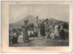 """Ausgrabungen in Pompeji zu früherer Zeit   - Druck, entnommen   aus """"die…"""