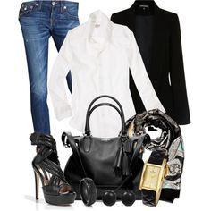 """""""Favorite Outfits~Boyfirend Jean with White Shirt~"""" by gangdise on Polyvore"""