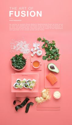 The Art Of Fusion - Food Photography on Behance food poster Food Graphic Design, Web Design, Food Design, Fusion Food, Food Photography Styling, Food Styling, Sushi Dishes, Food Gallery, Grafik Design