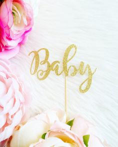 "Glittery ""Baby"" Cake Topper - Baby Shower Cake Topper - Baby Cake Topper - Baby Shower Decorations and Supplies"