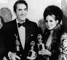 Barbra with Gregory Peck at the Golden Globe Awards