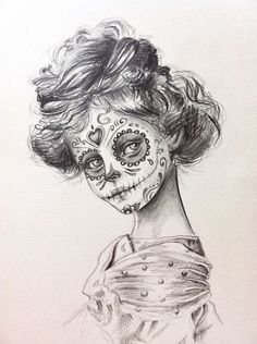 day of the dead Sugar Skull girl original by JulieFilipenko, ₪350.00