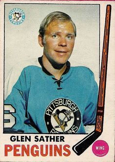 1969-70 Glen sather Hockey Cards, Baseball Cards, Hockey Room, Sports Pics, Good Old Times, Hockey Goalie, Sports Figures, Pittsburgh Penguins, Hockey Players
