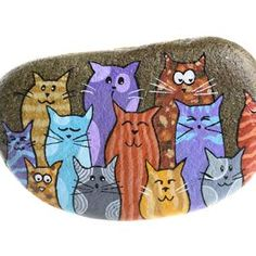 Wolf Painting, Star Painting, Frog Art, Rock Decor, Pet Rocks, Hand Painted Rocks, Grey Cats, Rock Crafts, Cat Love