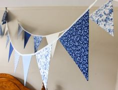 Floral blue bunting for hire, white and cream fabric flags, blue wedding decor, marquee decoration, wedding party Wedding Bunting, Wedding Decorations, Marquee Decoration, Blue Bunting, Floral Fabric, Easy Peasy, Blue Wedding, Flags, Fabric Design
