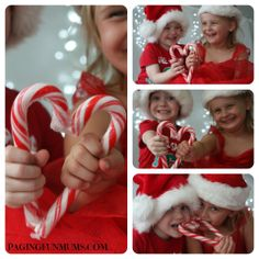 Fun Christmas Photos with Kids - Two Candy Canes make a great prop!