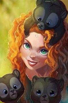 Princess Merida is the main character in an anime film that plays pixar and a leading role also in other anime films in 2012 Disney Pixar, Disney Animation, Film Disney, Arte Disney, Disney And Dreamworks, Disney Cartoons, Disney Magic, Disney Fairies, Disney Artwork