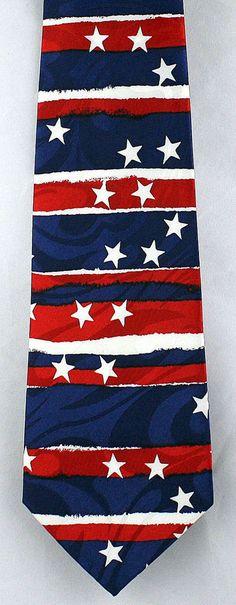 New Stars & Stripes Mens Necktie Fourth 4th of July Patriotic American Flag Tie  #StevenHarris #NeckTie