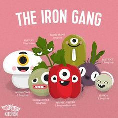 """If you're vegan or vegetarian you've probably been asked """"But where do you get your Iron?"""" Use this cute print to find vegan iron rich foods. Proper Nutrition, Nutrition Plans, Nutrition Tips, Health And Nutrition, Nutrition Chart, Nutrition Store, Holistic Nutrition, Nutrition Quotes, Banana Nutrition"""