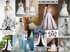 Color Inspiration Contest: Black and White Damask...Many wedding dresses with black accents are of course inspired by the infamous dress worn by Audrey Hepburn in the classic film Sabrina.