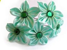 Wedding hair pins Set of 5 mint wedding Hair by SummerForYou