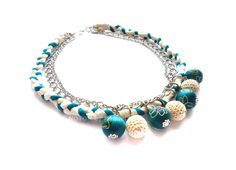 Medium Necklace in Turquoise Fabric Braid with Painted Wood Beads - Noton by Raquel, Etsy