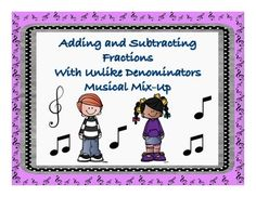 """My students LOVE to get out of their seats and move! This activity will allow students to dance their way to mastery while learning and practicing finding common denominators and either adding or subtracting! Students wear """"Hello my name is..."""" name tags with fractions on the name tag."""