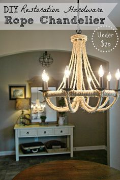 """DIY Restoration Hardware KnockOff Chandelier - Hi lovely friends! Have you ever seen a designer piece and thought, """"I can totally make that for a couple bucks""""? Decor, Restoration Hardware Chandelier, Diy Furniture Store, Diy Home Decor, Home Diy, Rope Chandelier, Diy Chandelier, Reclaimed Wood Table Top, Home Decor"""