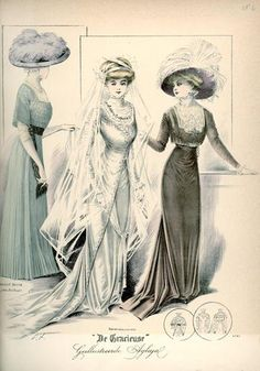 De Gracieuse February 1909, Edwardian Fashion Plate with bride