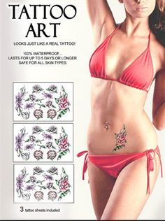 Skin Art Temporary Tattoos Kit  Enchanted Flowers by Skin Art. $10.95. Made in the USA.. Tattoos and crystals (sold separatley) stay on even while swimming and bathing.. Tattoos that last up to 5 days or longer.. Extremely realistic temporary tattoos.. Safe for all skin types.. These sexy tattoos are fun, fabulous, and commitment-free. Kit includes 3 tattoo sheets.. Save 22%! Beauty  Bath Bombs | tattoos picture realistic temporary tattoos Temporary Tattoo Paper, Realistic Temporary Tattoos, Temporary Tattoo Sleeves, Custom Temporary Tattoos, Tattoo Uk, Tattoo Kits, Enchanted Flowers, Tattoos For Kids