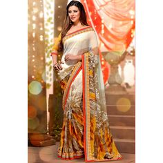 Off White Georgette #Saree With #Blouse #Womens #Clothing