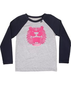 New funky grey t-shirt with navy sleeves and big fluo tiger from Danefae #emilea