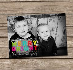 Christmas Card  Merry and Bright Custom Photo Holiday by deanworks, $15.00