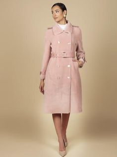 Nothing is quite as eternally chic as a well tailored trench coat, that is why we have adapted the classic trench into a magnificent winter piece. Our'Singin' in the Rain' winter 'trench' style coat is handcrafted from 100% wool, and features a 100% leather belt, and accents with gold metal hardware. Bejeweled by stun Girly Girl Outfits, Wool Trench Coat, Metal Buttons, Shirt Dress, Elegant, Chic, Sleeves, Model, How To Wear