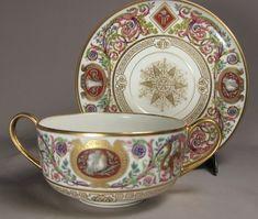 SEVRES King Louis Philippe 1846 Chateau de Fontainebleau Bouillon Cup & Saucer | #455369751