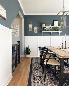 Dining Room Blue, Accent Walls In Living Room, Dining Room Walls, Dining Room Design, Living Room Decor, Living Area, Dining Chairs, Neutral Dining Room Paint, Blue Living Room Paint