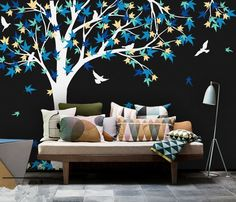 Large Mural 238X180cm Large Canada Maple Tree Wall Decals baby Bedroom nursery Art Pic vinyl wall stickers for Kids Room D972