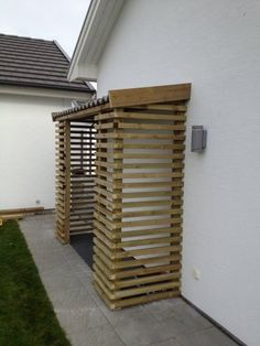 Every thought about how to house those extra items and de-clutter the garden? Building a shed is a popular solution for creating storage space outside the house Bike Shelter, Wood Store, Bicycle Storage, Bike Shed, Wood Shed, Shed Storage, Patio Storage, Storage Ideas, Building A Shed