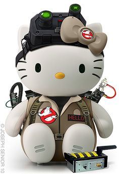 "labcreature: "" Unbelievably awesome, cute and inspired Hello Kitty/Ghostbusters mashup: ""Hello Buster Kitty"" (by artist joseph senior). The 'Hello' nametag. "" Who you gonna call? Chat Hello Kitty, Here Kitty Kitty, Sanrio, Wonderful Day, Hello Kitty Collection, 3d Fantasy, Ghost Busters, Geek Art, Funny Images"