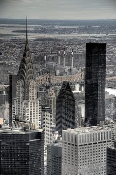 Chrysler building. It looks similar to the view from the top of the Empire State Building. Seeing this at night is breathtaking!