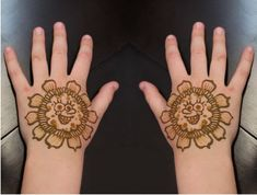 Cute Beginner Henna Designs For Kids New Mehndi Designs Images, Mehandi Designs For Kids, Cute Henna Designs, Rose Mehndi Designs, Mehndi Designs For Beginners, Latest Mehndi Designs, Mehndi Designs For Hands, Simple Mehndi Designs, Simple Henna Tattoo