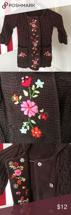🦋Savannah Toddler Cardigan🦋 Adorable brown cardigan with colorful flower embroidery on the front. Button closure for easy on and off. Two small pockets in front. 2T Savannah Jackets & Coats